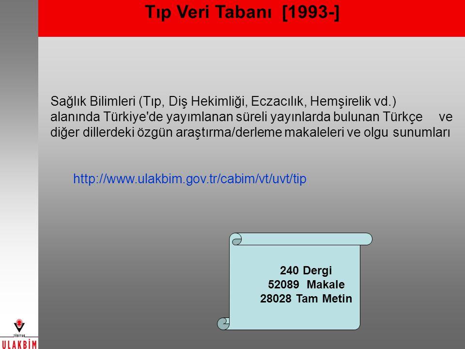Tıp Veri Tabanı [1993-]